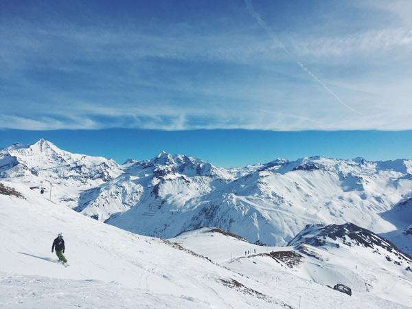 Snowboardfahrer in den Zillertaler Alpen