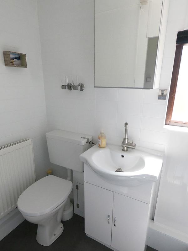 Waschbecken, Toilette und Spiegelschrank