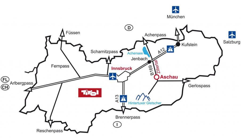 Lageplan zur Hütte Zillertal in Aschau im Zillertal