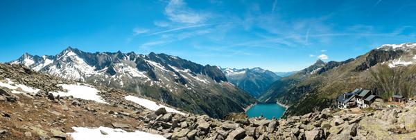 Panorama Zillergrund Stausee von oben