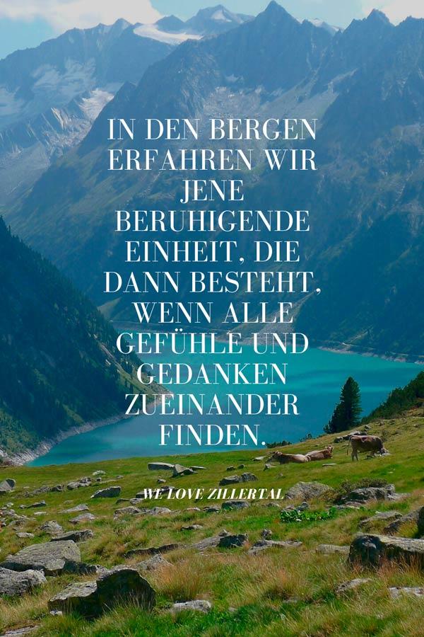 Bergzitat zum Thema Einheit in den Bergen von We love Zillertal