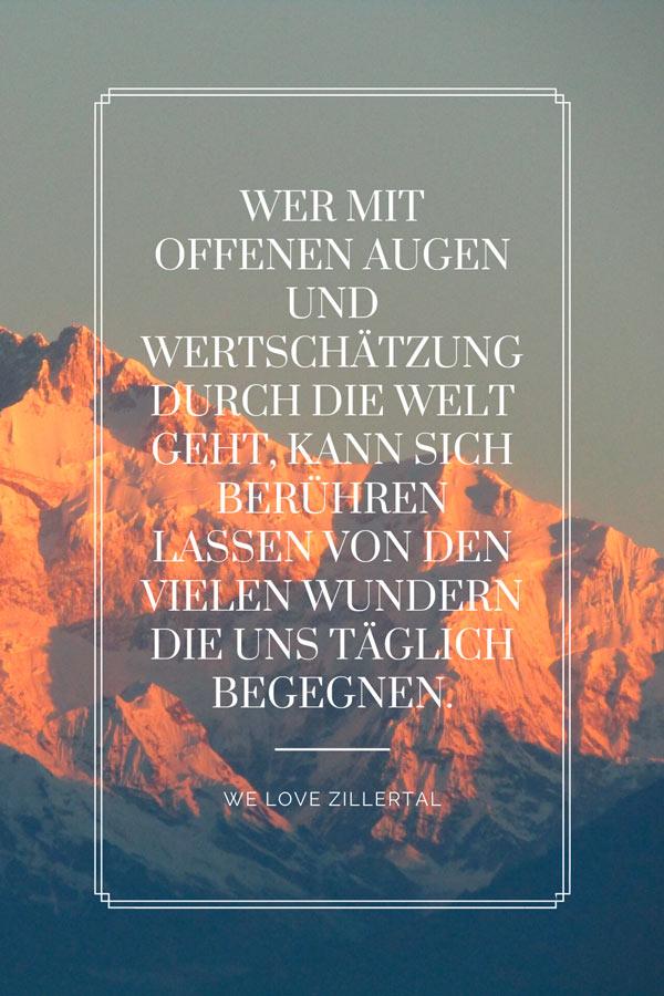 Visual Statement Wertschätzung zum Thema Bergzitate von We love Zillertal